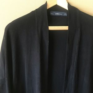 Zara Black Open Front Long Cardigan - Size M